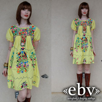 Vintage 70s Yellow Mexican Embroidered Hippie Boho Mini Dress XS S