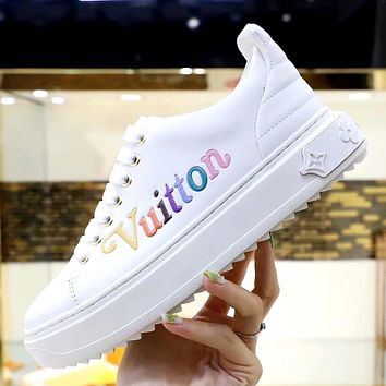 LV 2019 new rainbow letter embossed women's casual wild sports shoes white