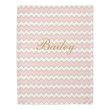 Monogram Personalized Baby Pink Gold Chevron Girl Duvet Cover