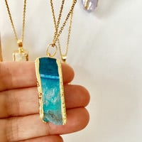 Druzy necklace, Natural Agate necklace,Natural crystal necklace,gift idea,pendant necklace,