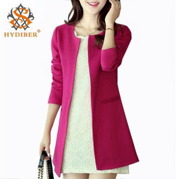 PEAPGB2 2016 Women Long Blazer Jackets 4 Colors New Fashion Solid Casual Plus Size Coat  Blazer Feminino