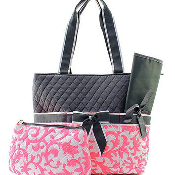 Personalized Coral and Gray Damask Diaper bag/ bags /purse