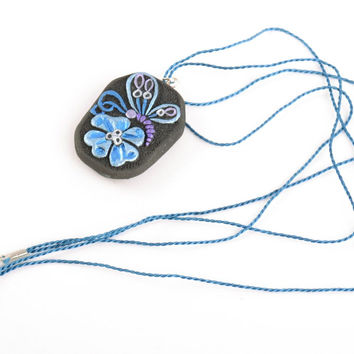 Handmade ceramic pendant painted with acrylics on cord Butterfly on Flower