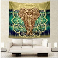 Indian Elephant Aubusson Mandala Tapestry Bohemian Wall Art Or Bed Spread