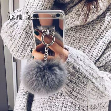 Metal Rope Mirror Tassel soft fluffy warm Fake Rabbit Fur pompom For iPhone 6 6S 4 5 5S 5G SE 7 8 X S plus 6plus 7P phone Case