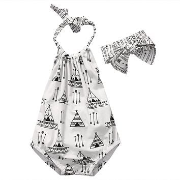 Baby girls clothes Casual Clothing Sets Toddler Newborn Baby Girl Clothes Romper Jumpsuit +Headband Outfits