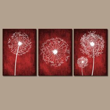 DANDELION WALL ART, Red Bedroom Wall Art, Dandelion Canvas or Prints, Master Bedroom Pictures, Red Bathroom Decor, Set of 3 Home Decor