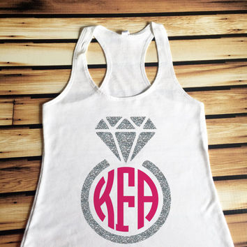 Monogrammed Diamond Ring Tank Top - Diamond Ring Tank Top - Monogrammed Tank Top - Engagement Tank Top