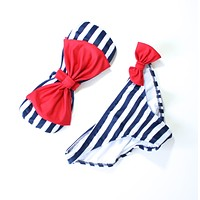 Sailor Gal Bow Bandeau Bikini in Navy and Red