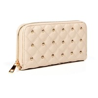 BeigeGold Quilted Studded Wallet