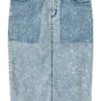 Blue Denim Bodycon Skirt