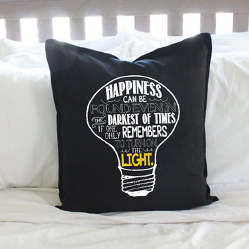 "Harry Potter ""Happiness Can Be Found""  Lightbulb Black Pillow Cover"
