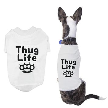 Thug Life Pet T-shirt Funny Dog White Shirts Cute Short Sleeve Tee for Puppy