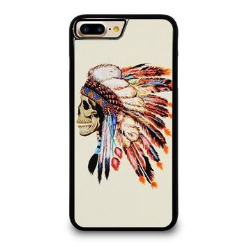 INDIAN FEATHER SKULL iPhone 4/4S 5/5S/SE 5C 6/6S 7 8 Plus X Case