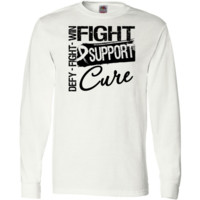 Mesothelioma Fight Support Cure Long Sleeve T-Shirts featuring the words Fight, Defy and Win