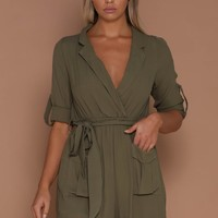 Setra Collared Playsuit - Khaki