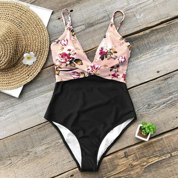 Pink Floral High Leg Cut One Piece Swimsuit For Women