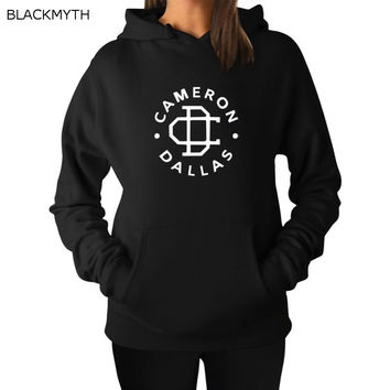 BLACKMYTH Women Pullover Hoodies Casual Sweatshirts Long Sleeve Hooded CAMERON DALLAS Printed Mujer Cotton Hoodies Women's