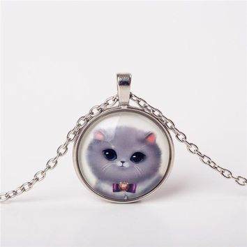 Cute Cat Jewelry Classic Glass Cabochon Silver Chain Necklace For Women