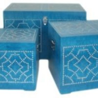 One Kings Lane - Souk Treasures - S/3 Studded Trunks