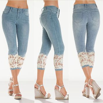 Solid Color with Lace Patchwork 3/4 Length Jeans Denim Pants
