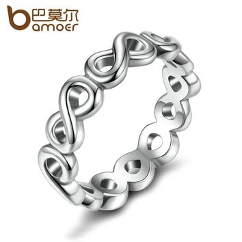 BAMOER Classic Bow-knot Friendship Infinity Finger Rings Silver Color Ring for Women Fashion Wedding Jewelry PA7213