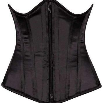 Daisy Corsets Top Drawer Black Satin Underbust Steel Boned Corset
