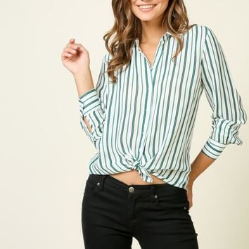 Geri Striped Button Up Top