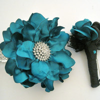 Wrist Corsage Bracelet Set Prom Homecoming Teal Satin Rhinestone Wrist Corsage with Matching Boutonniere