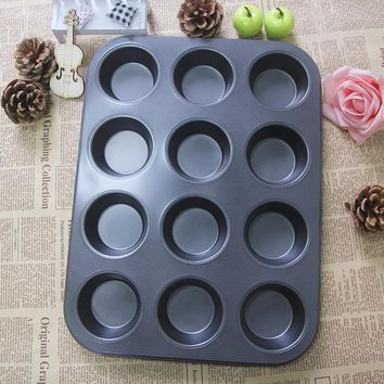 Heavy duty carbon steel cupcake baking tray,12 mini cup cupcake shaped cake pan,nonstick cupcake baking tray, cupcake mold