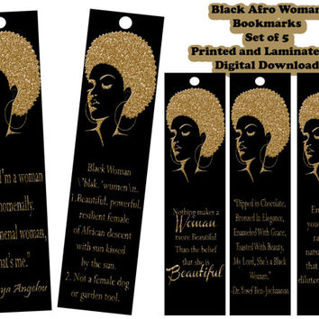Black Afro Woman Gold Glitter Motivational Bookmarks. Inspirational, Empowerment, Black Pride, Quotes, Black Definition, laminated.
