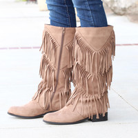 City Girl Layered Fringe Riding Boots {Taupe}