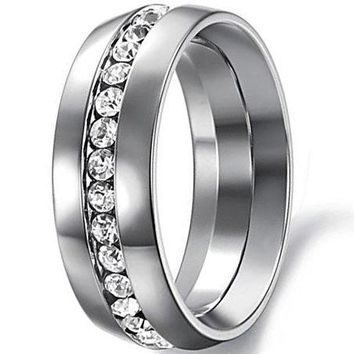 CERTIFIED 7mm Silver Titanium Stainless Steel Channel Set Cubic Zirconia CZ Wedding Engagement Ring Band