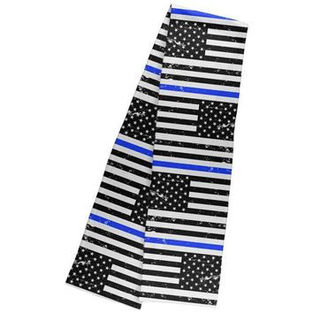 DCCKU3R Distressed Thin Blue Line American Flag Warm Fleece Scarf