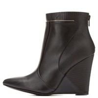 Two-Textured Wedge Booties by Charlotte Russe
