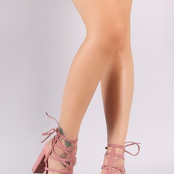 Wild Diva Lounge Suede Strappy Caged Back Lace-Up Chunky Heel