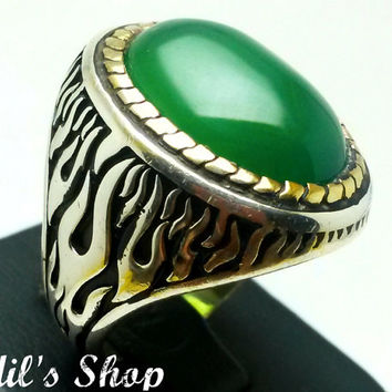 Men's Ring, Turkish Ottoman Style Jewelry, 925 Sterling Silver, Authentic Gift, Traditional, Handmade, With Agate Stone, US Size 10, New