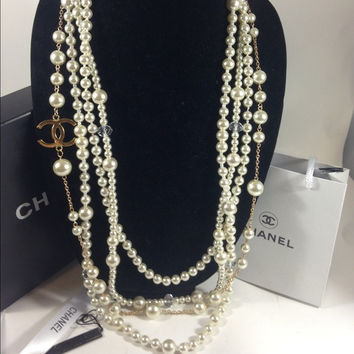Long Pearl Necklace W Chanel Charm (Handmade)