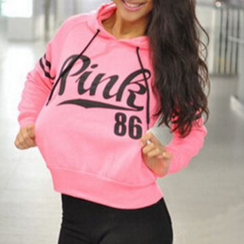 PINK Fashion Long Sleeve Print Monogram Hooded Sweater