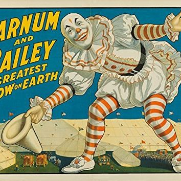 Barnum and Bailey - Greatest Show on Earth (clown in front of tents) Vintage Poster USA c. 1917 (9x12 Collectible Art Print, Wall Decor Travel Poster)