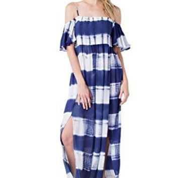 Easel Women's Cold Shoulder Tie Dye Maxi Dress with Shirred Bodice