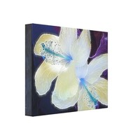 Neon Purple White Abstract Flowers Wrapped Canvas Canvas Print