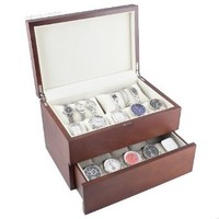 Caddy Bay Collection Vintage Wood Watch Case Display Storage Watch Box Solid Top Holds 20+ Watches With Adjustable Soft Pillows and High Clearance for Larger Watches