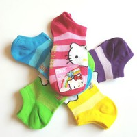 Womens HELLO KITTY Set of 5 Pairs Socks Bright Striped No-Show Socks Size 9 -11