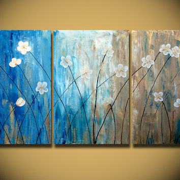 Flower Field Large 48x24 Gold Original Abstract textured Modern Contemporary Fine Art Earthy Nature Painting by Orit - The Dancing Flowers