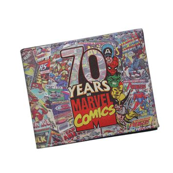 Marvel Anniversary Collectible Comics Wallets Super Hero Posters Purse Cosplay Fans Money Bag Wallet Avengers Theme Wallet Short