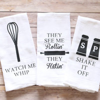 Funny Song Lyric Tea Towels, Kitchen Towels, Song Lyric Towels, Any Set of Three,