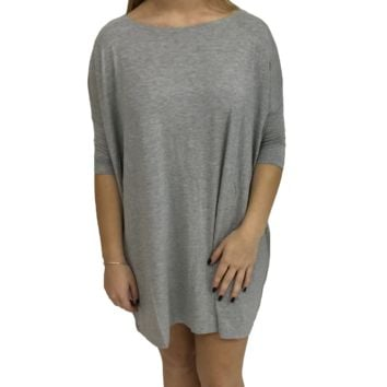 Heather Grey Piko Tunic Half Sleeve Top
