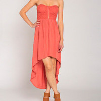 Knit Corset Hi Lo Dress in Orange