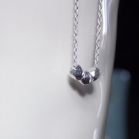 VALENTINE'S DAY Silver Nugget Necklace, Geometric Silver Necklace Sliding Bead Modern Simple